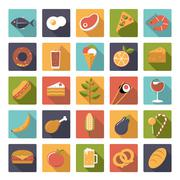 Square food icons vector set. Stock Illustration