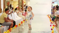 Kids on catwalk during Fashion children clothing Stock Footage