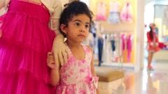 Little girl holds hand of dummy in Children Gallery Jakimanka Stock Footage
