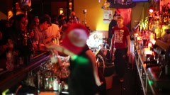 Bartenders work in bar Theme in Moscow, Russia Stock Footage