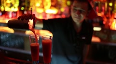 Barman mixes cocktail in bar Theme in Moscow, Russia Stock Footage