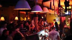 Barmen, dancers and crowd in Theme bar in Moscow, Russia Stock Footage