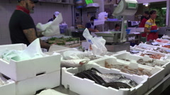 Rome Italy fresh seafood fish market 4K 056 Stock Footage