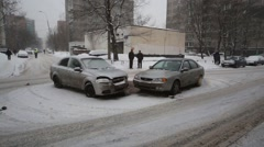 Car accident at Playing street in Moscow, Russia. Stock Footage