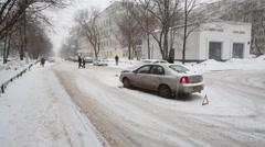 Car accident at Playing street at winter day. Stock Footage