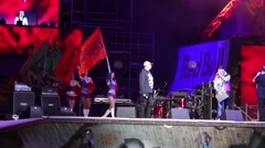 Master of ceremonies and girls with flags at Breakthrough 2013 Stock Footage
