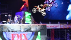 Motorcyclist jumps on festival extreme sports Breakthrough 2013 Stock Footage