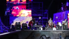 Singer on stage on festival extreme sports Breakthrough 2013 Stock Footage