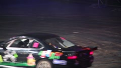 Car drifts on Extreme Sports Festival Breakthrough 2013 Stock Footage