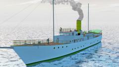 Late 19th century steam yacht on calm seas, 3D animation Stock Footage