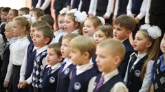 Pupils sing at holiday of Alphabet in School No. 1349. Stock Footage