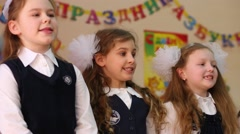 Stock Video Footage of Girls perform at holiday of Alphabet in School No. 1349.