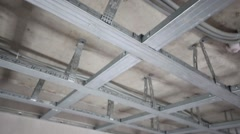 Stock Video Footage of Framework made of metal profile Knauf for hung ceiling