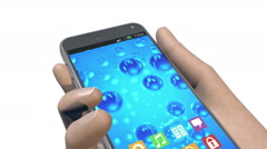 Smart phone grows chain to human hand, 3D animation Stock Footage