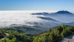 Beautiful Mist Flowing On Valley Of Chiang Mai, Thailand (zoom out) Stock Footage