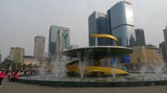 4k timelapse of Tianfu Square central business district in Chengdu Stock Footage