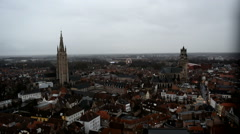 Ancient Bruges city from the Belfry of Bruges. 2 churches can be seen Stock Footage