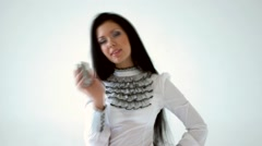 HD1080i Sexy young model in black/white business dress talking on cell phone. Stock Footage