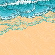 Sea waves background - stock illustration