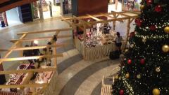 Interior - christmas marketplace in shopping center - christmas tree Stock Footage