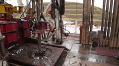 Wide Angle Shot of machinery at an oil and gas well Stock Footage