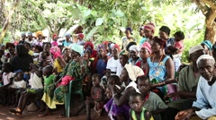 Africa village welcoming group stairing Guinea Bisseau Stock Footage