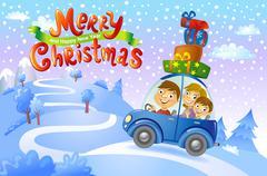 Christmas family trip Stock Illustration