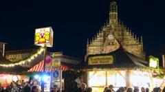 Christmas market in nuernberg, germany Stock Footage