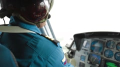 Close Up Shot of a helicopter pilot at a heliport Stock Footage
