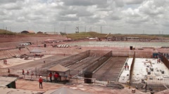 Panoramic Shot of a oil and gas working and building place Stock Footage