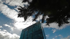 Low Angle to Wide Angle shot of Pacific Rubiales Tower Stock Footage