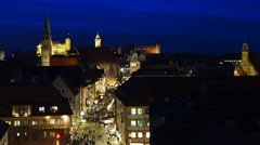 Nuernberg at night, germany Stock Footage