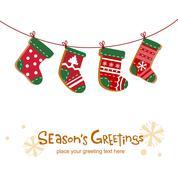 Christmas stockings, greeting card Stock Illustration