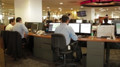 Wide Angle Shot of some offices inside Colombian Stock Market headquarters - stock footage