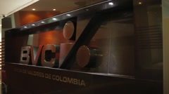 Zoom in Shot of the logo at the entrance of Colombian Stock Market Stock Footage