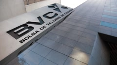 Low Angle Shot of the logo outside Colombian Stock Exchange Stock Footage