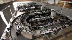 Panoramic Shot of a Large Open Office Stock Footage