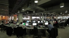 Wide Angle Shot of a Large Open Office - stock footage