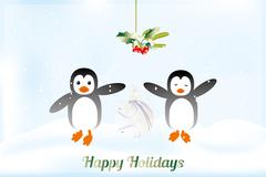 Cute holiday card with penguins Stock Illustration
