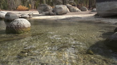 Clear Cold Water Sand Harbor Beach Large Rocks Boulders Lake Tahoe Stock Footage