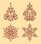 Christmas ornaments. - stock illustration