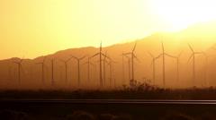 Sunset Clean Green Energy Wind Turbines Alternative Desert Power Stock Footage