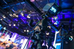 video camera - recording show in tv studio - stock photo