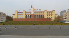 4k timelapse of statue of Mao Zedong, and Sichuan science and technology museum Stock Footage