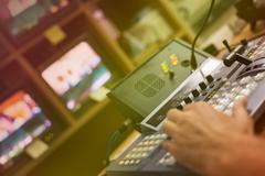Video mixing panel in a television studio Stock Photos