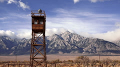 Guard Tower Searchlight Manzanar National Historic Site California Stock Footage