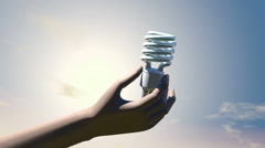 Human hand holding compact fluorescent light bulb, 3D animation - stock footage