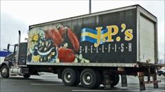 Lobster seafood delivery truck loop Stock Footage
