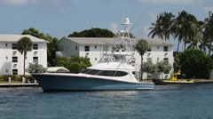 Yacht in the waterways of Boca Raton Stock Footage