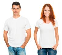 Man and girl in white T-shirts Kuvituskuvat